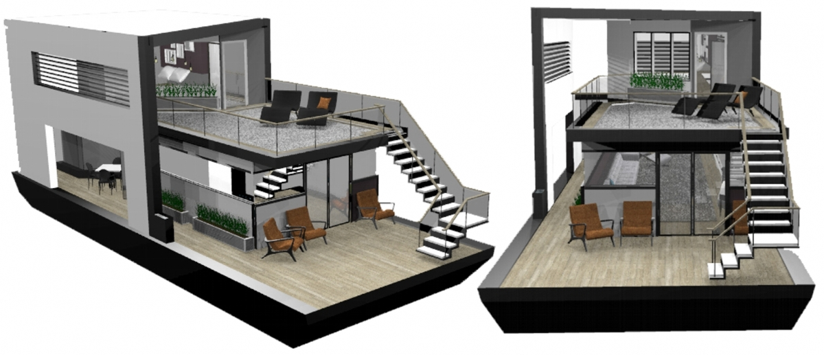 Interior design projects floating home style by design for Float home designs