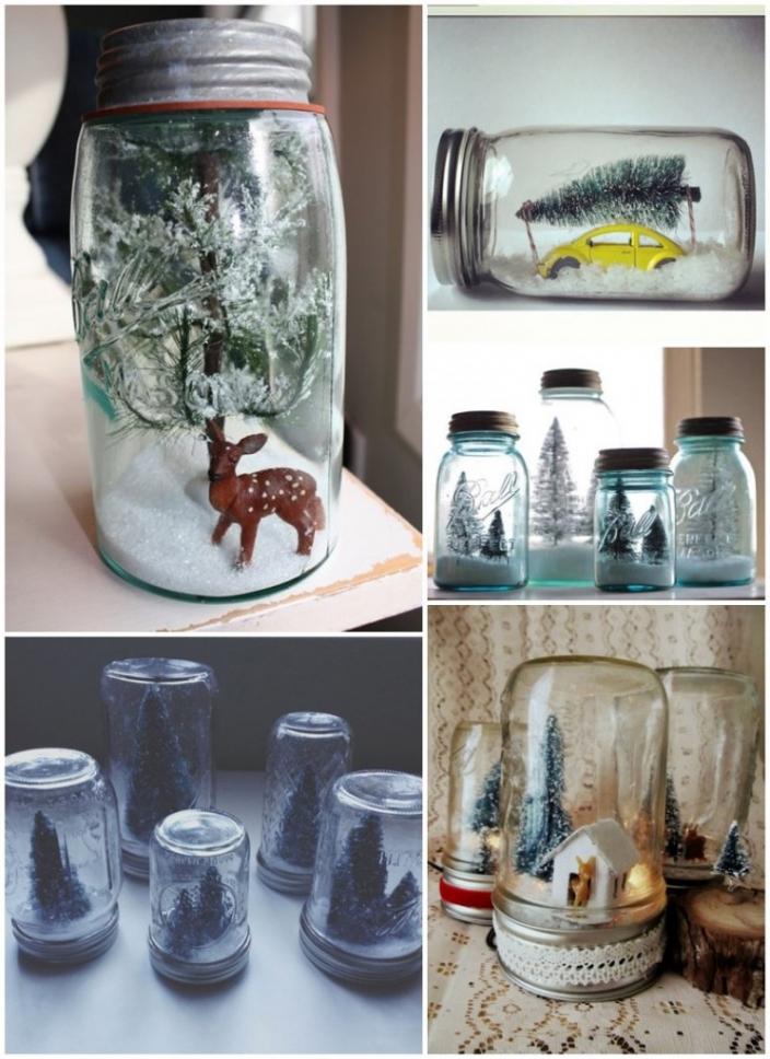 mason jar snow globe style by design