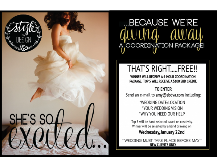 stylebydesign giveaway free wedding coordination